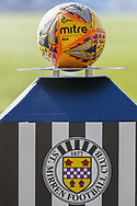 Mitre Delta Ladbrokes sponsored matchball ahead of the Ladbrokes Scottish Premiership match between St Mirren and Dundee at the Paisley 2021 Stadium, St Mirren, Scotland on 30 March 2019.