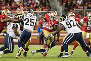 San Francisco 49ers running back Carlos Hyde (28) carries the ball against the Los Angeles Rams at Levi's Stadium in Santa Clara, Calif., on September 12, 2016. (Stan Olszewski/Special to S.F. Examiner)