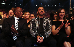 Lewis Hamilton (centre) and Jessica Ennis-Hill during the BBC Sports Personality of the Year 2018 at Birmingham Genting Arena.