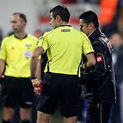 Referee's Mete Kalkavan (L) during their Turkish superleague soccer match Besiktas between MP Antalyaspor at BJK Inonu Stadium in Istanbul Turkey on Monday, 15 April 2013. Photo by Aykut AKICI/TURKPIX