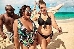 Plus-size model Ashley Graham and comedian Sherri Shepherd lead the pack in a new body-confident swimsuit campaign. The pair are seen flaunting their voluptuous figures in a colorful beach photoshoot in a collaboration between Swimsuits For All and KingSize. The collaboration between the size-inclusive women's swimwear brand and the men's big and tall brand are working together to create a cross-gender, body-positive message with the shoot featuring swimwear from both brands. The Every.Body.Counts Summer Campaign features Graham and Shepherd alongside Sports Illustrated model Tara Lynn, and plus size model, Emme. Joining the girls are male influencers Kelvin Davis, Bruce Sturgell, Zach Mikoand and Najee Fox! Graham said of the campaign: 'As the body positive movement becomes more inclusive, and we continue to inspire women to love and embrace the skin that we're in, it is important that we invite everyone to join the conversation. 'We know that women's bodies are historically more judged and scrutinized, but we also recognize that men are subject to those pressures as well. This partnership shows our continued commitment to represent and celebrate different body types and sizes, supporting the confidence journey for everyone. Guys, we see you, too!' The swim campaign features both the Swimsuits For All and KingSize summer 2019 collections, both available on the respective brand's websites. The KingSize collection is available in men's sizes BIG XL-9X and TALL L-6XL, and the Swimsuits For All collection features women's sizes 4-40. 13 May 2019 Pictured: Ashley Graham stars alongside Sherri Shepherd, Tara Lynn, Emme, Kelvin Davis, Bruce Sturgell, Zach Mikoand and Najee Fox in the Every.Body.Counts Summer Campaign collaboration between Swimsuits For All and KingSize. Photo credit: Swimsuits For All/ KingSize/MEGA TheMegaAgency.com +1 888 505 6342