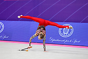 Pohranychna Khrystyna from Ukraine competing in the Individual Rhythmic Gymnastics World Cup at the Vitrifrigo Arena on May 2021, in Pesaro, Italy. She was born in Lviv on May 13, 2003.