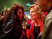 25 APRIL 2019 - CEDAR RAPIDS, IOWA: US Sen. ELIZABETH WARREN greets supporters after giving a campaign speech at the Linn Phoenix Club in Cedar Rapids. The Linn Phoenix Club is an organization that promotes Democratic candidates in Linn County, Iowa. Sen. Warren is campaigning in eastern Iowa Thursday night and Friday to promote her bid to the Democratic candidate for the US Presidency. Iowa traditionally hosts the the first selection event of the presidential election cycle. The Iowa Caucuses will be on Feb. 3, 2020.           PHOTO BY JACK KURTZ