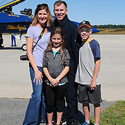 Brunswick Asst Principal, Tim Gagnon, and his family, planeside afterhis flight with Blue Angel #7. Photo by Roger S. Duncan Fore The Forecaster.