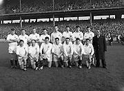 Football Railway Cup Final, .Ulster v Leinster.<br /> <br /> Back Row - from Left<br /> James McCartan (An Dún) Sean McDonnell (An Cabhán) Eugene Larkin<br /> (Ard Mhaca) Benny Mone (Muineachán)<br /> Sean O Connell (An Doire)<br /> Pat Rice An Dún Dan McCartan An Dún Gabriel Kelly (An Cabhán) <br /> <br /> Front Row - from Left Jimmy Whan (Ard Mhaca) Breen Morgan An Dún Leo Murphy An Dún Jarlath Carey An Dún Paddy Doherty An Dún Sean O Neill An Dún T McArdle (Muineachán)<br /> first live televised Gaelic Football Match