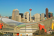 © 2007 Randy Vanderveen, all rights reserved.Calgary, Alberta.Construction in downtown Calgary is evident by the presence of cranes and new towers going up behind the Pengrowth Saddledome. There are concerns some of that construction could stop if the Alberta provincial government's recently announced changes to the oil and gas royalty structure, Oct. 25/07 causes  large energy companies to change their plans on investing in projects in the province.