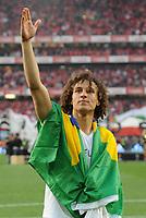 20100509: LISBON, PORTUGAL - SL Benfica vs Rio Ave: Portuguese League 2009/2010, 30th round. In picture:  David Luiz celebrating with the brazilian flag. PHOTO: Alvaro Isidoro/CITYFILES