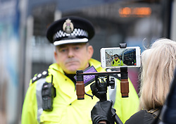 Pictured: Chief Inspector Alan Carson from Police Scotland at the tram stop on York Place in the city where Riina was last seen.<br /> <br /> Police launched an appeal for information in the search for missing Finnish tourist Riina Sjogren, who was last seen in Edinburgh City Centre on 09 January this year.<br /> <br /> © Dave Johnston/ EEm