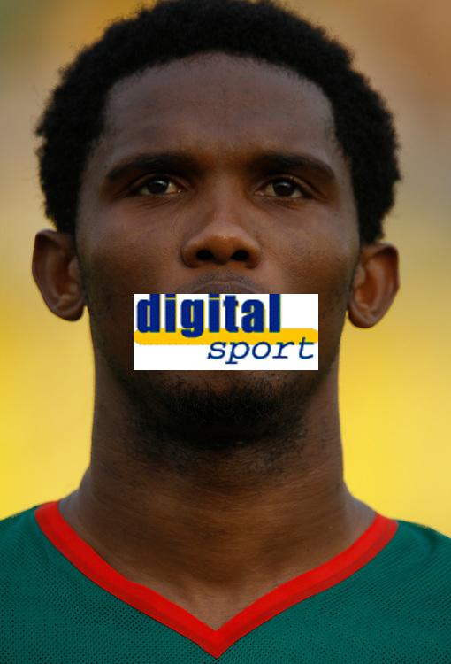 Photo: Steve Bond/Richard Lane Photography.<br /> Egypt v Cameroun. Africa Cup of Nations. 22/01/2008. Samuel Eto'o of Barcelona & cameroon lines up against Egypt