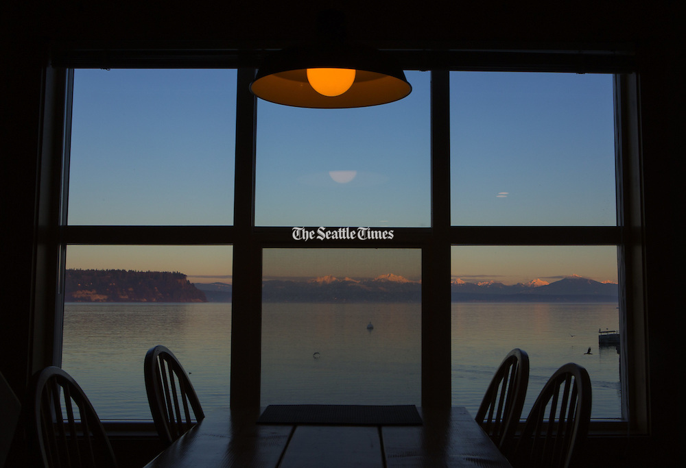 View of water outside from table on the water in Langley. (Ellen M. Banner / The Seattle Times)