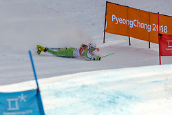 PYEONGCHANG-GUN, SOUTH KOREA - FEBRUARY 15: Ana Drev of Slovenia falling during the Alpine Skiing Women's Giant Slalom at Yongpyong Alpine Centre on February 15, 2018 in Pyeongchang-gun, South Korea. Photo by Ronald Hoogendoorn / Sportida
