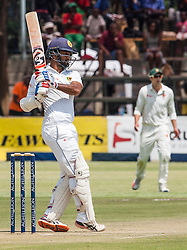 Sri Lanka batsman Dimuth Karunaratne in action during the 100th test match played by Zimbabwe in a match with Sri Lanka at Harare Sports Club 29 October 2016.