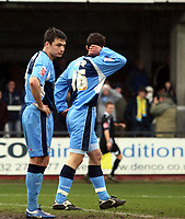 Photo: Mark Stephenson/Richard Lane Photography. <br /> Hereford United v Wycombe Wanderers. Coca-Cola League Two. 15/03/2008. Wycombe's Russell Martin (F) looks dejected as he scores a own goal.<br /> John Sutton (B)