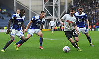 Preston North End's Lukas Nmecha under pressure from Birmingham City's Wes Harding, Michael Morrisona and Gary Gardner<br /> <br /> Photographer Kevin Barnes/CameraSport<br /> <br /> The EFL Sky Bet Championship - Preston North End v Birmingham City - Saturday 16th March 2019 - Deepdale Stadium - Preston<br /> <br /> World Copyright © 2019 CameraSport. All rights reserved. 43 Linden Ave. Countesthorpe. Leicester. England. LE8 5PG - Tel: +44 (0) 116 277 4147 - admin@camerasport.com - www.camerasport.com