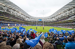 October 7, 2017 - Dublin, Ireland - A general view of Aviva Stadium during the warm-up during the Guinness PRO14 match between Leinster Rugby and Munster Rugby at Aviva Stadium in Dublin, Ieland on October 7, 2017  (Credit Image: © Andrew Surma/NurPhoto via ZUMA Press)