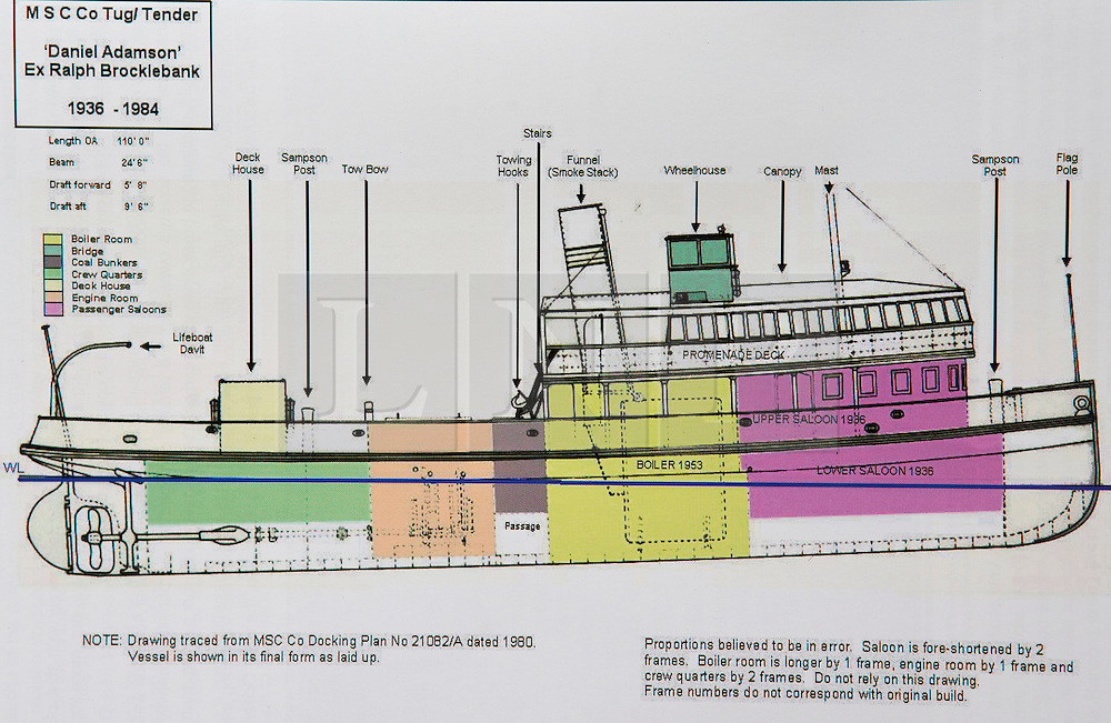 """© Licensed to London News Pictures. 04/05/2016. Birkenhead UK. Collect picture shows the technical drawings for the Daniel Adamson (Ralph Brocklebank) 1936-1984 after it's 1936 refit. The Daniel Adamson steam boat has been bought back to operational service after a £5M restoration. The coal fired steam tug is the last surviving steam powered tug built on the Mersey and is believed to be the oldest operational Mersey built ship in the world. The """"Danny"""" (originally named the Ralph Brocklebank) was built at Camel Laird ship yard in Birkenhead & launched in 1903. She worked the canal's & carried passengers across the Mersey & during WW1 had a stint working for the Royal Navy in Liverpool. The """"Danny"""" was refitted in the 30's in an art deco style. Withdrawn from service in 1984 by 2014 she was due for scrapping until Mersey tug skipper Dan Cross bought her for £1 and the campaign to save her was underway. Photo credit: Andrew McCaren/LNP ** More information available here http://tinyurl.com/jsucxaq **"""