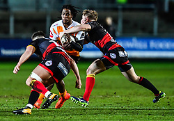 Cheetahs' Sibhale Maxwane is tackled by Dragons' Arwel Robson and Connor Edwards<br /> <br /> Photographer Craig Thomas/Replay Images<br /> <br /> Guinness PRO14 Round 18 - Dragons v Cheetahs - Friday 23rd March 2018 - Rodney Parade - Newport<br /> <br /> World Copyright © Replay Images . All rights reserved. info@replayimages.co.uk - http://replayimages.co.uk