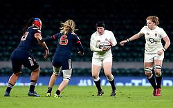 Rochelle Clark of England runs with the ball - Mandatory by-line: Robbie Stephenson/JMP - 04/02/2017 - RUGBY - Twickenham - London, England - England v France - Women's Six Nations