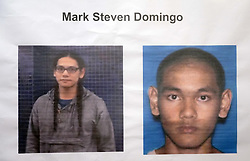 April 29, 2019 - Los Angeles, California, U.S. - Photos of MARK STEVEN DOMINGO are displayed during a press conference at the U.S. Attorney's office in Los Angeles on Monday. On Friday, FBI agents arrested Domingo, 26, of Reseda on federal charges in a terrorist plot to detonate a bomb at a Long Beach rally over the weekend. (Credit Image: © Scott Varley/SCNG via ZUMA Wire)