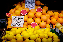 Lemons and grapefruit for sale on a stall in the Bullring Street Market in Birmingham, England, UK<br /> <br /> (c) Andrew Wilson | Edinburgh Elite media