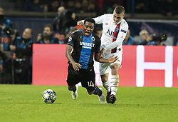 David OKEREKE from BRUBES and VERRATTI Marco from PSG In action during the UEFA Champions League Group A football match Paris Saint-Germain (PSG) v Club Brugge at the Parc des Princes stadium in Paris, France, on November 6, 2019. Photo by Loic BaratouxABACAPRESS.COM