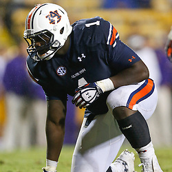 Sep 21, 2013; Baton Rouge, LA, USA; Auburn Tigers defensive tackle Montravius Adams (1) against the LSU Tigers during the second half of a game at Tiger Stadium. LSU defeated Auburn 35-21. Mandatory Credit: Derick E. Hingle-USA TODAY Sports