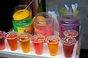 Brightly coloured drinks in Shanghai, China.