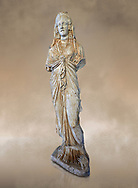 Roman statue of Priestess of Isis,  2nd century AD from Hierapolis. Hierapolis Archaeology Museum, Turkey. Against an art background .<br /> <br /> If you prefer to buy from our ALAMY STOCK LIBRARY page at https://www.alamy.com/portfolio/paul-williams-funkystock/greco-roman-sculptures.html- Type - Hierapolis - into LOWER SEARCH WITHIN GALLERY box - Refine search by adding a subject, place, background colour, museum etc.<br /> <br /> Visit our CLASSICAL WORLD HISTORIC SITES PHOTO COLLECTIONS for more photos to download or buy as wall art prints https://funkystock.photoshelter.com/gallery-collection/The-Romans-Art-Artefacts-Antiquities-Historic-Sites-Pictures-Images/C0000r2uLJJo9_s0c