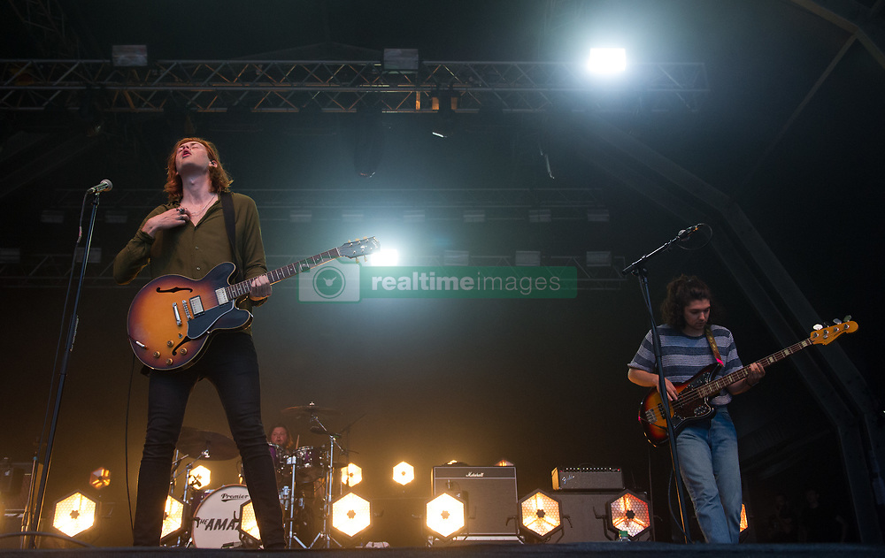 Matt Thomson and Elliot Briggs of The Amazons perform on stage on day 1 of Standon Calling Festival on July 27, 2018 in Standon, England. Picture date: Friday 27 July, 2018. Photo credit: Katja Ogrin/ EMPICS Entertainment.