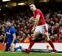 Josh Adams of Wales celebrates scoring his sides second try<br /> <br /> Photographer Simon King/Replay Images<br /> <br /> Six Nations Round 1 - Wales v Italy - Saturday 1st February 2020 - Principality Stadium - Cardiff<br /> <br /> World Copyright © Replay Images . All rights reserved. info@replayimages.co.uk - http://replayimages.co.uk