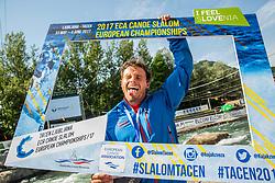 Second placed Thomas Koechlin fo Switzerland celebrates after competing in Final of Canoe C1 Men Single during Day 4 of 2017 ECA Canoe Slalom European Championships, on June 4, 2017 in Tacen, Ljubljana, Slovenia. Photo by Vid Ponikvar / Sportida