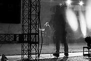 """Giorgia Meloni, leader del partito Fratelli d'Italia durante la manifestazione """"Italia Sovrana"""" in piazza San Silvestro. Roma 28 Gennaio 2017. Christian Mantuano / OneShot<br /> <br /> Leader of right wing party Fratelli d'Italia Giorgia Meloni (c)  during the demonstration 'Italia sovrana' in piazza San Silvestro , (Italy Sovereign) Italy, Rome 28 January 2017 . Christian Mantuano / OneShot"""