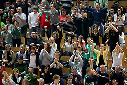 Supporters of Krka during basketball match between KK Krka and Union Olimpija Ljubljana of Round 7th of ABA League 2011/2012, on November 12, 2011 in Arena Leon Stukelj, Novo mesto, Slovenia. (Photo By Vid Ponikvar / Sportida.com)