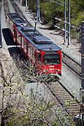 Red Trolley Train In San Diego
