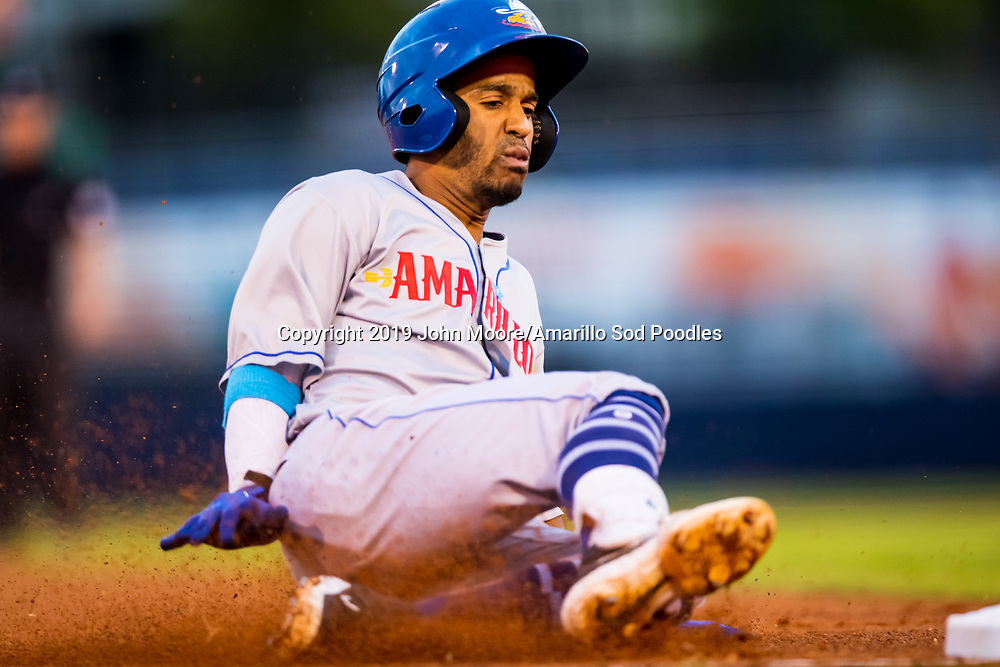 Amarillo Sod Poodles infielder Ivan Castillo (2) slides into third base against the Tulsa Drillers during the Texas League Championship on Friday, Sept. 13, 2019, at OneOK Field in Tulsa, Oklahoma. [Photo by John Moore/Amarillo Sod Poodles]