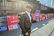 March 29, 2019 - GBR - A leave protestor outside Westminster in London Friday, March 29, 2019, as MPs are expected to consider and vote on a Government motion on the EU withdrawal on Friday evening. (Credit Image: © Vedat Xhymshiti/ZUMA Wire)