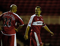 Photo: Jed Wee.<br /> Middlesbrough v Notts County. Carling Cup. 20/09/2006.<br /> <br /> Middlesbrough's Mark Viduka (R) and Massimo Maccarone show their displeasure as another chance goes begging.