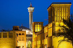 historic Bastakiya quarter at night in Dubai United Arab Emirates historic Bastakiya quarter at night in Dubai United Arab Emirates