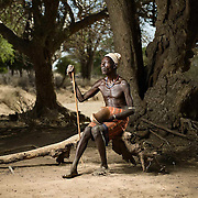 A village elder poses for a portrait, Lower Omo Valley Ethiopia.