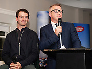 25/09/2018 Repro free: <br /> James Heaslip,who MC'd on the night and National Hunt jockey Patrick Mullins at the launch of Galway Racecourse  details of their new and exciting three-day October Festival that takes place over the Bank Holiday weekend, Saturday 27th, Sunday 28th and Monday 29th continuing racing and glamour into the Autumn.<br />   Each of the three race days offers something for all the family to enjoy, with a special theme attached to each day, together with fantastic horse racing, live music, delicious hospitality, entertainment and of course the meeting of old friends and new at Ballybrit.  <br /> Halloween Family Fun <br /> On Saturday 27th October come along with your children and grand children and enjoy the 'Spooktacular' Halloween themed family fun day with lots of entertainment including a fancy-dress competition, Halloween games and face painting to mention but a few!! All weekend children under 16 years of age have free admission. <br /> Race in Pink <br /> As part of this new October Festival and with-it being Breast Cancer Awareness month, Galway Racecourse have partnered with The National Breast Cancer Research Institute to host a dedicated fundraiser on Sunday 28th October called 'Race in Pink'.  <br /> <br /> Student Race Day in aid of the Voluntary Services Abroad <br /> Monday sees the return of our annual 'Student Race Day' in conjunction with the Voluntary Services Abroad (a medical aid charity run by the fourth-year medical students of NUI, Galway), and the NUIG Rugby Club.  Each year, this fundraising day for the student organisations raises a tremendous amount of money for their chosen projects including the VSA annual summer volunteer trip to Africa where they use the funds raised to help projects at the hospitals they visit. <br />  National hunt racing on Saturday kicks off at 2.05pm with racing Sunday and Monday off at 1.05pm. Adult admission on all three days is €15 with children under 16 years of age, free. For more info