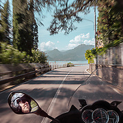 Riding on the lake for 100 years Moto Guzzi anniversary