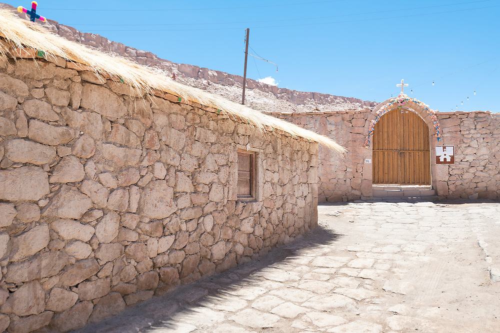 A view of a street of Caspana, a little village in the Atacama desert in northern Chile.