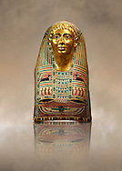 Ancient Egyptian mummy mask of Pasyg. 1st century BC. Neues Museum Berlin AM 34436. .<br /> <br /> If you prefer to buy from our ALAMY PHOTO LIBRARY  Collection visit : https://www.alamy.com/portfolio/paul-williams-funkystock/ancient-egyptian-art-artefacts.html  . Type -   Neues    - into the LOWER SEARCH WITHIN GALLERY box. Refine search by adding background colour, subject etc<br /> <br /> Visit our ANCIENT WORLD PHOTO COLLECTIONS for more photos to download or buy as wall art prints https://funkystock.photoshelter.com/gallery-collection/Ancient-World-Art-Antiquities-Historic-Sites-Pictures-Images-of/C00006u26yqSkDOM
