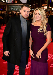 Aaron Ramsey and Colleen Rowland attending the European premiere of Collateral Beauty, held at the Vue Leicester Square, London. PRESS ASSOCIATION Photo. Picture date: Monday 15th December, 2016. See PA Story SHOWBIZ Beauty. Photo credit should read: Ian West/PA Wire