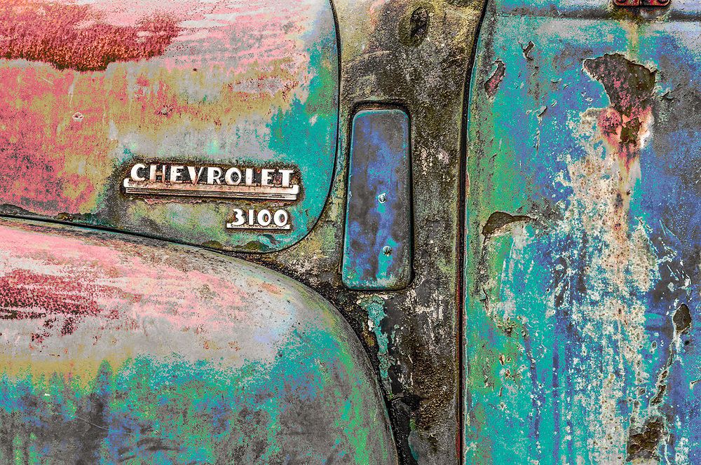 Old Chevrolet 3100 Pickup Truck, overcast light, December, Clallam County, Olympic Peninsula, Washington, USA