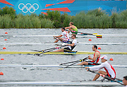 Eton Dorney, Windsor, Great Britain,..2012 London Olympic Regatta, Dorney Lake. Eton Rowing Centre, Berkshire[ Rowing]...Men's Single scull Start  NZL M1X  BEL M1X CRO M1X.   Dorney Lake. 11:02:05  Tuesday  11:02:05   [Mandatory Credit: Peter Spurrier/Intersport Images].
