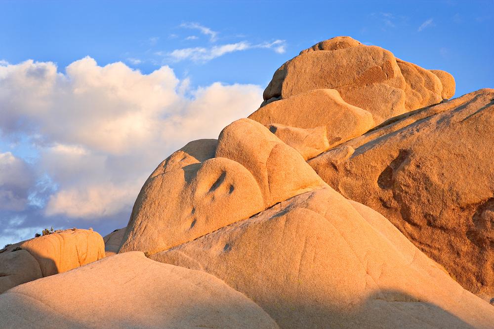 Sunset on rock formations, Joshua Tree National Park, California