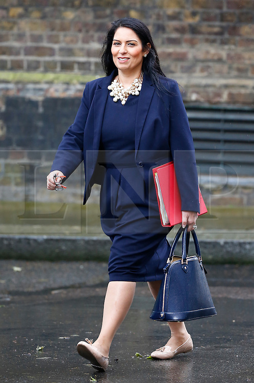 © Licensed to London News Pictures. 10/05/2016. London, UK. Minister of State for Employment PRITI PATEL arrives at Number 10 Downing Street in Westminster, London for cabinet meeting. Photo credit: Tolga Akmen/LNP
