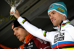 February 10, 2018 - Lille, BELGIUM - Belgian Eli Iserbyt pictured on the podium after the U23 race of the Krawatencross cyclocross in Lille, the eighth and last stage in the DVV Verzekeringen Trofee Cyclocross competition, Saturday 10 February 2018. BELGA PHOTO DAVID STOCKMAN (Credit Image: © David Stockman/Belga via ZUMA Press)