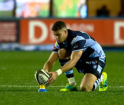Steve Shingler of Cardiff Blues lines up a kick at goal<br /> <br /> Photographer Simon King/Replay Images<br /> <br /> Guinness PRO14 Round 14 - Cardiff Blues v Connacht - Saturday 26th January 2019 - Cardiff Arms Park - Cardiff<br /> <br /> World Copyright © Replay Images . All rights reserved. info@replayimages.co.uk - http://replayimages.co.uk